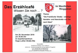 Das Erzählcafè - Die Frankfurter Straße - einstige Handels- und Heerstrasse @ MehrGenerationenHaus, Hugo-Luther-Str. 60a, 38118 Braunschweig