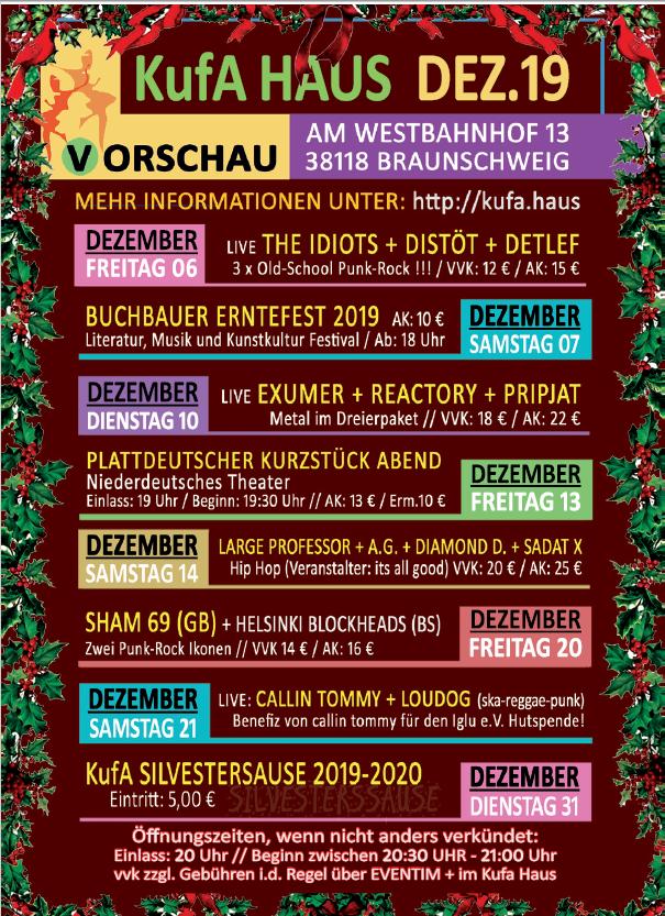 Kufa Haus Dezember 2019 @ Soziokulturelles Zentrum, Am Westbahnhof 13, 38118 Braunschweig